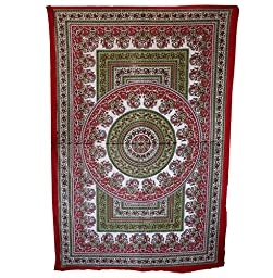 Wild Lotus Mandala Tapestry Multi Color Full Size