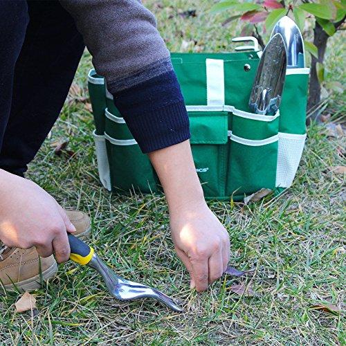 Songmics 8 Piece Garden Tool Set w/ Tool Bag Folding stool u0026 Trowel Transplanter Cultivator Weeding Fork ... & 8 Piece Garden Tool Set w/ Tool Bag Folding stool u0026 Trowel ... islam-shia.org