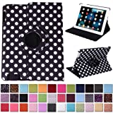 HDE 360° Rotating Leather Folio Case and Stand with Sleep/Wake Feature for iPad 2/3/4 (White & Black Polka Dot)