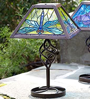 tiffany style solar outdoor table lamp in dragonfly