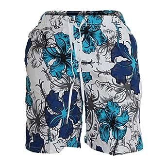 Waooh - Short De Bain Motif Fleurs Style Hawaïen Corantin - TURQUOISE, L