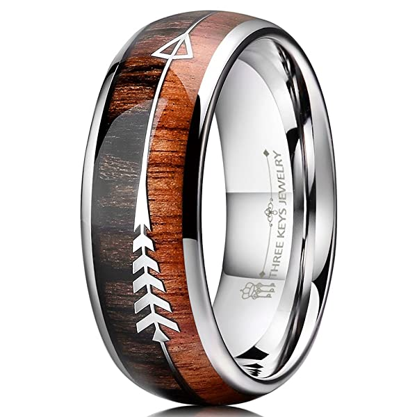Three Keys Jewelry 8mm Silver Tungsten Wedding Ring With Koa Wood