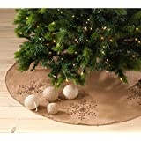 Jeweled Snowflake Burlap Design Holiday Decor Natural Chirstmas Tree Skirt, One Piece