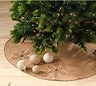 Jeweled Snowflake Burlap Design Holiday Decor Natural Chirstmas Tree Skirt, One Piece