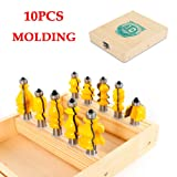 Molding Router Bit Set, 10 Pcs Architectural Molding Router Bit Set & Mitered Door Cutter Tool 1/2
