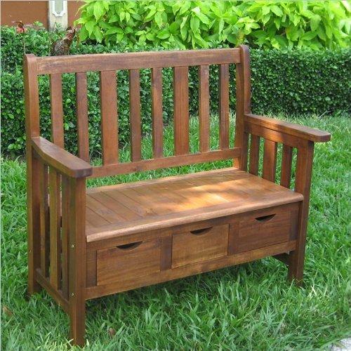 Acacia Patio Wood Storage Bench Finish: Stain International Caravan B00196W6GU