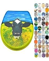 Abattant WC - Grande sélection - Finition de haute qualité - Charnières robustes - Facile fixation (Tete de la Vache)