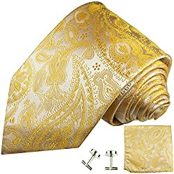 Paul Malone Necktie, Pocket Square and Cufflinks 100% Silk Yellow Paisley