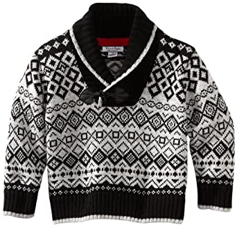 Kitestrings Big Boys' Roll Collar Fair Isle Sweater, Black, 8/10