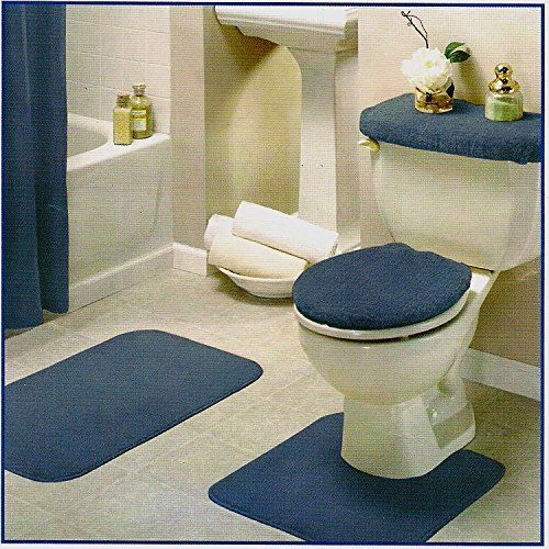 Blue Bathroom Rug Set 4 Pc Hardware Plumbing Plumbing Fixtures Toilet Bidet Accessories Toilet