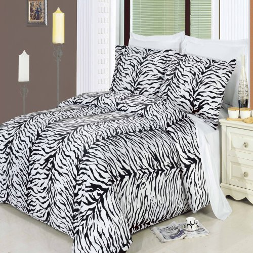 Luxury 3pc Zebra Full/Queen Duvet cover set 100%