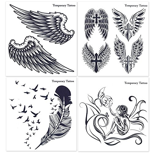 [Hakuna 4 Sheets Black Temporary Tattoos, Wing/ Feather/ Cross/ Floral Fairy] (Fairy Wing Tattoos)
