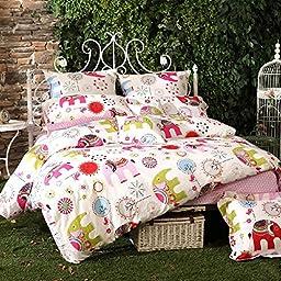 LELVA Cartoon Bedding, Elephant Pattern Bedding, Kids Bedding Girls, Children\'s Duvet Cover Set, Colorful Bedding, Bohemian Style Bedding Set, Twin Full Queen Size (Twin)