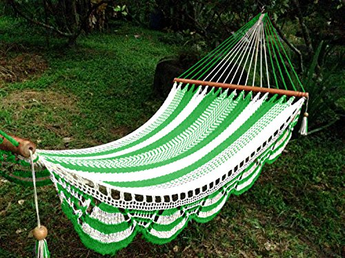 Artisan Handwoven Hammock 13 Ft 2 Person 500 Lbs (Green/white)