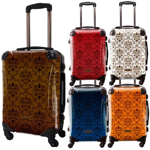 紋章柄/ヴォイジュスーツケース/ベーシック/クラシック/フレーム4輪/TSAロック/機内持込可能/キャラート/ブラウン レッド ホワイト ネイビー オレンジ/CRA01-001
