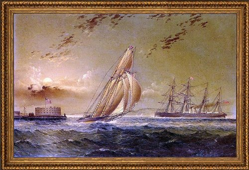 "James E Buttersworth English Steamer Off Staten Island - 16"" X 24"" Framed Premium Canvas Print front-162997"