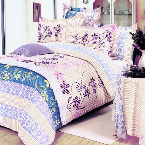 Blancho Bedding - [Striped Orchid] Luxury 7PC Bed In A Bag Combo 300GSM (King Size)