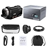 Video Camcorder, Andoer 4K Digital Video Camera 48MP 2880 x 2160 HD 3inch Touchscreen Handy Camera with IR Night Sight Support 16X Zoom 128GB Max Storage Christmas Valentine's Gift Present (Color: Camera+Wide Angle Lens)