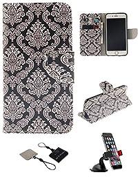 iPhone 6/6S Wallet Case , Castle Cas [Totem Flower] Duplex Design Flip Card Slot Slim Fit Magnetic Premium Polyurethane Leather TPU Cover Case With Car Mount Phone Holder - Black