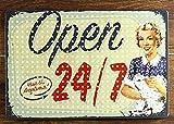 Open Tin Sign Vintage Metal Plaque Poster Bar Pub Home Wall Decor