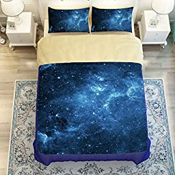MeMoreCool Galaxy Series Boys and Girls 4-Piece Bedding Set with 2 Matching Pillow Covers Galaxy Quilt Cover Creative Galaxy Space in Classic Design Bedding(Fitted sheet, Full)