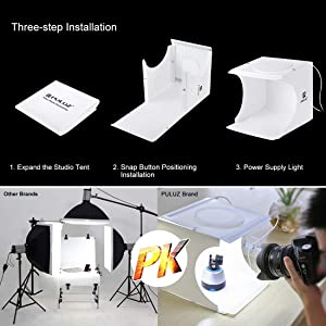 Mini Photo Studio Super Bright Photography Light Box Lightbox Portable Shooting Light Tent with 6 Colors Photography Backdrops Waterproof Background Screen Carrying Bag (20 Centimeter) (Color: White)