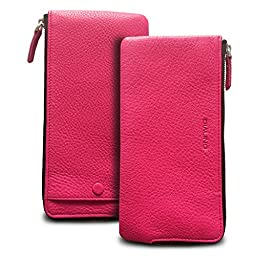 QIALINO Women\'s Long Zipper Genuine Leather Wallet Case /Card Case /Phone holder Snap Clutch Purse - 5.5 inch Phone, Rose Red