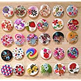 "Nicedeco Pack of 100pcs Designed Round Shaped Painted 2 Hole Wooden Buttons (Diameter 0.59""(15mm*15mm) Color Random Shipments) Super Fantastic"