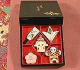 箸置き 京のお正月 (羽子板/福羽根/やっこ凧/梅/鏡餅) 5個セット