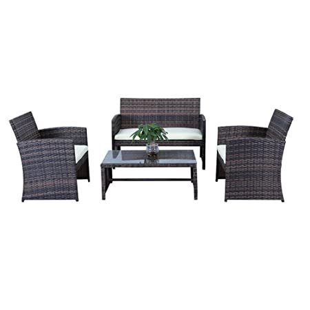 MCTECH® Poly Rattan Gartengarnitur Sitzgruppe Sofa Garnitur Polyrattan Gartenmöbel Essgruppe inkl. Glas und Sitzkissen (Type D Braun)