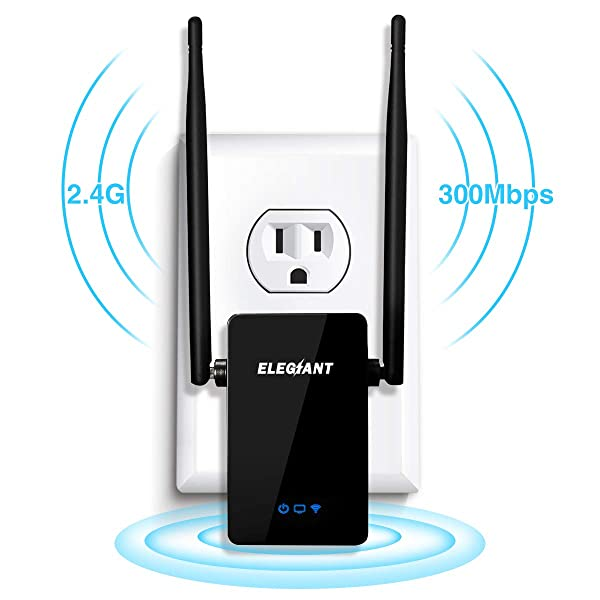 Wireless WiFi Repeater, ELEGIANT 300Mbps WiFi Range Extender Signal Amplifier Booster Supports Router Mode/Repeater/ Access Point, with High Gain Dual