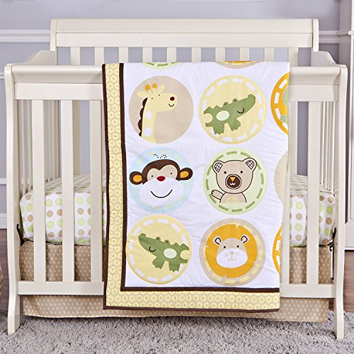 Dream On Me 3 Piece Reversible Portable Crib Set, Animal Kingdom