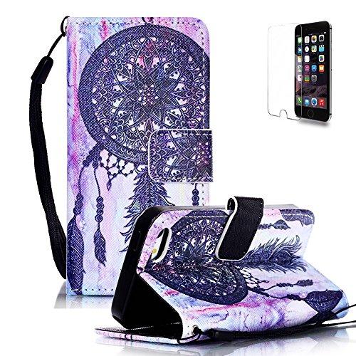 Coque Housse Etui pour iPhone 5C - Funyye iPhone 5C Lanyard Strap Sangle Flip Cuir Wallet Coque Cover Case,[Campanules Noir Pattern] Etui Housse de