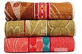 Casa Basics 400 GSM Set Of 3 Jacquard Large Bath Towels 68 X 137 cms- Multicolor