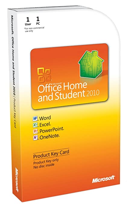 Microsoft Office Home & Student 2010 Product Key Card Book Cover