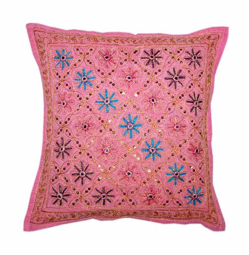 Marvellous Home Decor Art Rajrang Mirror & Embroidery Work Pink Color Cotton Cushion Cover/ Throw Pillow Cover Comforter Sets India (Size 16x16) (Pcs 5)