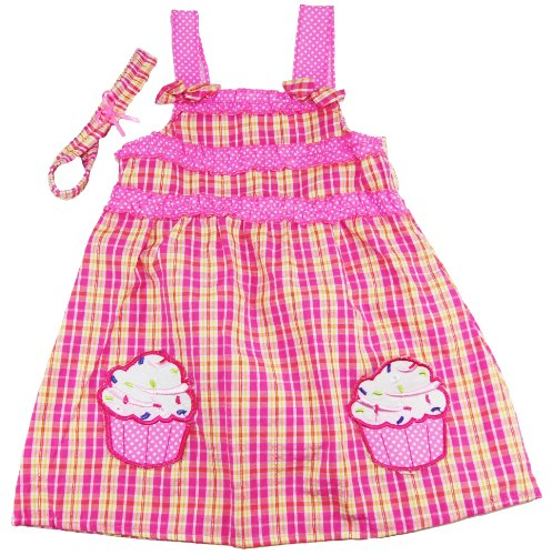 Coney Island Little Girls Pink Cupcake Dress With Headband Set front-373486