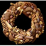 Exotic Creations Natural Contents - Dried flower wreath(Natural,L=40 cm X W=40 cm X D= 40 cm)