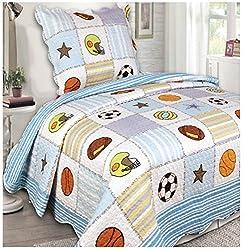 Mk Collection 2 Pc Bedspread Boys Sport Football Basketball Baseball White Light Blue New