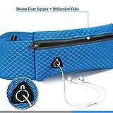 ウエストポーチ ランナーポーチ ランニング ウエストバッグ ヒップパック ボディバッグ イヤホン用のアイレット付 - 青