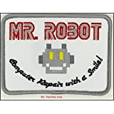 MR ROBOT FSOCIETY TV SHOW White Embroidery Patch Halloween costume Badge Easy Iron On (Color: beige, Tamaño: 4 inches wide 3 inches height)