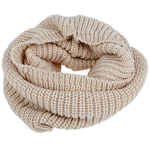 Jubileens Chunky Thick Ribbed Knitted Winter Warm Infinity Circle Scarf Cowl (Beige) (Cowl Scarf compare prices)