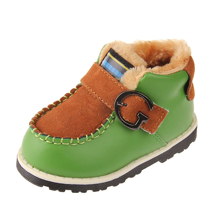 Happy Cherry Baby Schuhe Winter Jungen PU Baumwolle Babyschuhe 12.5-14.5cm Länge Lauflernschuhe Warme Stiefel Krabbelschuhe Boots für Baby 12-36 Monate Größe 19-23 - Größe/Farbe Wählbar