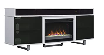 "Enterprise TV Stand with Speakers for TVs up to 80"", Gloss White (Electric Fireplace Insert sold separately)"