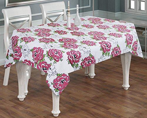 Tovaglia di tela rettangolare 6 posti -100% cotone rosa stampa tovaglia ringraziamento rosa -140 x 180 cm