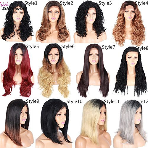 Different Styles Wave Curly Straight Braid Wigs Ombre Blonde Red Color Hand Tied Japanese Top Grade Kanekalon Synthetic Glueless Free Part Lace Front Wigs For Women(20
