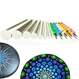 Mandala Rock Painting Pen Dot Dotting Tools Stencil Brush Set 13 PCS Flat Head 4mm 5mm 6mm 8mm 10mm 12mm 14mm Diameter 5 Stylus (set1) (Tamaño: set1)