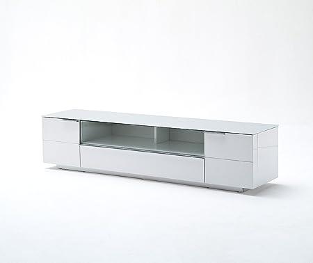 Lowboard, TV-Möbel, TV-Möbel, Phonomöbel, Hochglanz weiß + Glas mit Schublade #