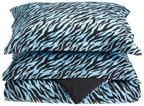 Divatex Microfiber Zebra Comforter Mini Sets, Twin, Aqua/Black