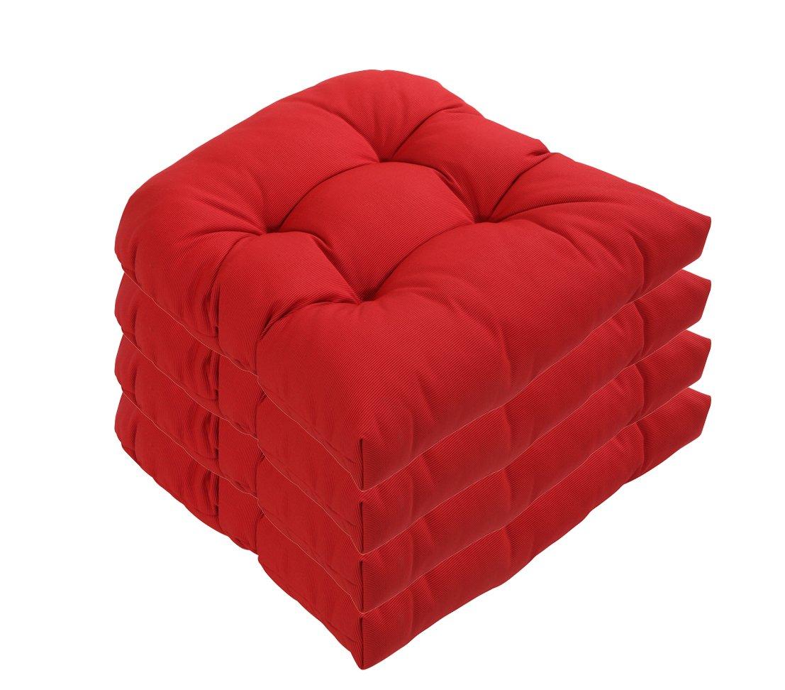 Dehner Sitzkissen Sarah, halbrund, 4 Stück, je ca. 42 x 40 x 4 cm, rot kaufen